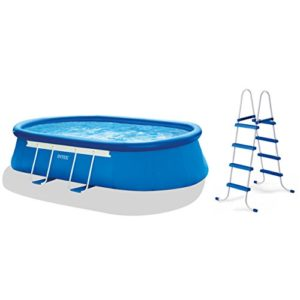 Intex 18ft X 10ft X 42in Oval Frame Pool Set with Filter Pump  Ladder  Ground Cloth & Pool Cover