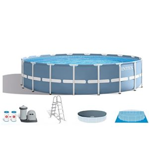 INTEX 18ft X 48in Prism Frame Pool Set with Filter Pump  Ladder  Ground Cloth & Pool Cover