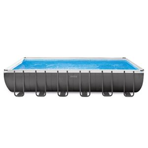Intex 24ft X 12ft X 52in Ultra Frame Rectangular Pool Set with Sand Filter Pump  Ladder  Ground Cloth & Pool Cover