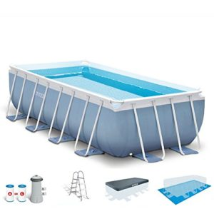 Intex 16ft X 8ft X 42in Prism Frame Rectangular Pool Set with Filter Pump  Ladder  Ground Cloth & Pool Cover