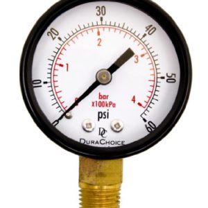 2  Pool Spa Filter Utility Pressure Gauge for Water  Oil  Gas  1 4  NPT Lower Mount  Black Steel Case  0-60PSI