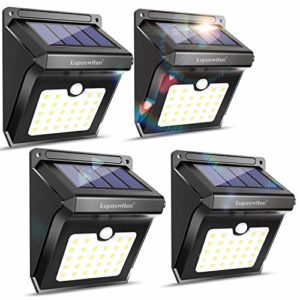 28 LEDs Solar Lights Outdoor  Motion Sensor Wireless Waterproof Security Wall Lights  Solar Light for Outdoor  Front Door  Back Yard  Garage  Porch by Luposwiten (4 Pack)