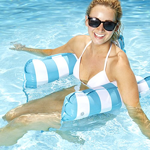 Aqua Monterey 4-in-1 Multi-Purpose Inflatable Hammock (Saddle  Lounge Chair  Hammock  Drifter) Portable Pool Float  Light Blue