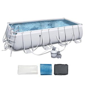 Bestway 18'x9'x48  Rectangular Frame Above Ground Pool Set with Ladder   Pump