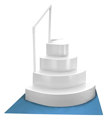 Blue Wave NE110WH Wedding Cake Above Ground Pool Step with Liner Pad  White