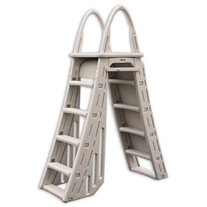 Confer Heavy-Duty A-Frame Above-Ground Pool Ladder   Hydro Tools Protective Mat
