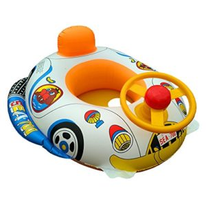 EnjoySweat Inflatable Baby Float Seat Boat Toys with Speaker Swimming Pool Car Boat Upgraded Floating Ring