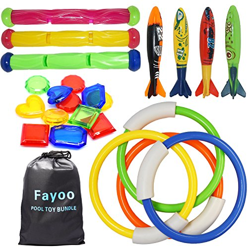 Fayoo 23 Pack Underwater Swimming Diving Pool Toy Rings(4 Pcs)  Toypedo Bandits(4 Pcs)  Diving Sticks(3 Pcs) with Under Water Treasures (12 Pcs) Gift Set Bundle  Ages 3