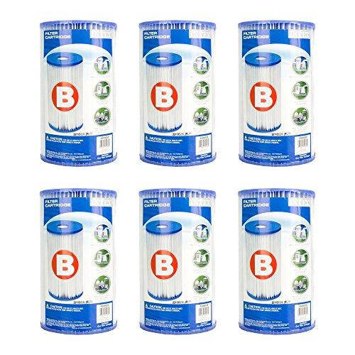 Full Case of 6 Intex Brand Type B Pool Filter Cartridges - For Intex Model 51  633  633T  621  520  520R  530  530R  CS8111   8111 Filter Pumps