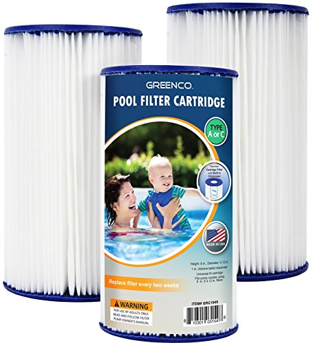 Greenco GRC1548 Pool Filter Cartridges Type a Or C Replacement with Build-in Chlorinator-Set of 3