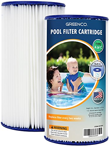 Greenco Pool filter Cartridges Type A or C Replacement with Build-in Chlorinator-Set of 2