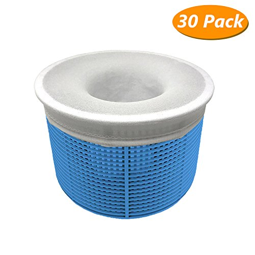Homga Swimming Skimmer Socks  Perfect Pool Filter Saver Socks Net for Filters  Baskets   Skimmers  Ultra fine Mesh Screen Liner for Swimming Pool Basket (30 Pack)
