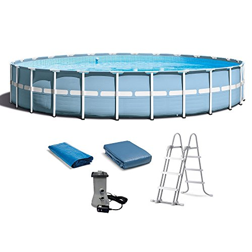 INTEX 24ft X 52in Prism Frame Pool Set with Filter Pump  Ladder  Ground Cloth   Pool Cover