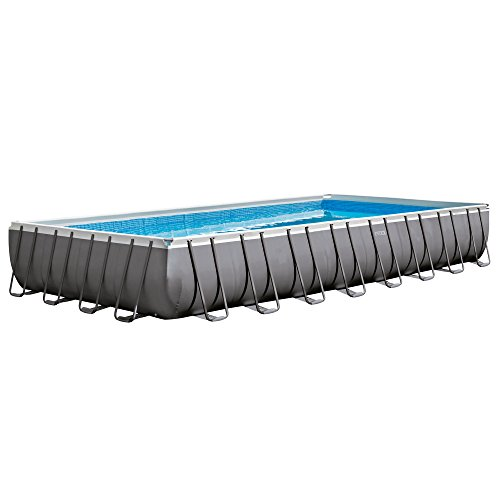 Intex 32ft X 16ft X 52in Ultra Frame Rectangular Pool Set with Sand Filter Pump  Ladder  Ground Cloth and Pool Cover
