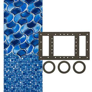 Smartline 15-Foot Round Waves of Poseidon Liner   Overlap Style   48-to-52-Inch Wall Height   25 Gauge   Universal Gasket Included   Designed for Steel Sided Above-Ground Swimming Pools