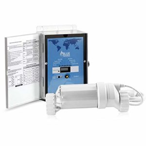 BLUE WORKS Pool Chlorine Generator Chlorinator BLH40   for 40k Gallon Pool   with Flow Switch and Salt Cell   Cell Plates Made in USA   5 Year Limited Warranty (Clear)