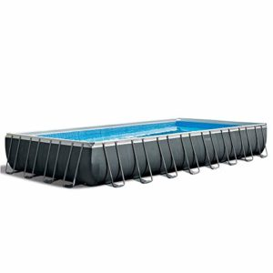 Intex 32ft X 16ft X 52in Ultra XTR Rectangular Pool Set with Sand Filter Pump   Saltwater System  Ladder  Ground Cloth  Pool Cover  Maintenance Kit   Volleyball