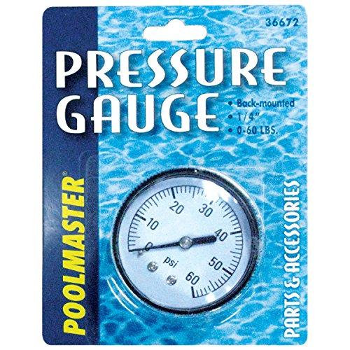 Poolmaster 36672  Pressure Gauge for Swimming Pool or Spa Filter  1 4 Back-Mount Thread
